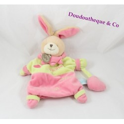 Doudou puppet rabbit BABY NAT' Fiona loves pink green kisses