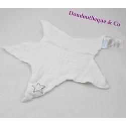 Doudou plat étoile TROUSSELIER Lange blanc 40 cm