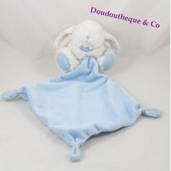 Doudou mouchoir lapin TEX BABY bleu pois blanc Carrefour
