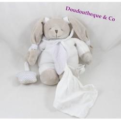Doudou Céleste lapin DOUDOU ET COMPAGNIE blanc étoile grise mouchoir ventral 20 cm