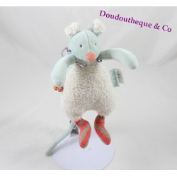 Doudou mouse MOULIN ROTY Rusk and Pompom rattle Bell 20 cm
