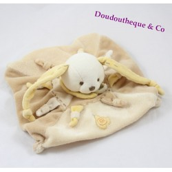 Doudou flat Bunny BLANKIE and company Douvelours yellow PEAR
