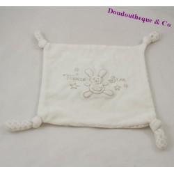 Doudou plat lapin Teenie Star carré blanc noeuds 18 cm