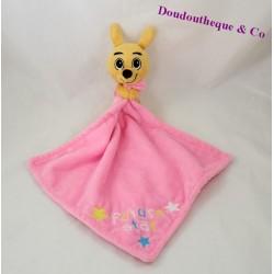 Doudou mouchoir Kangourou WALIBI Future Star rose étoiles 13 cm