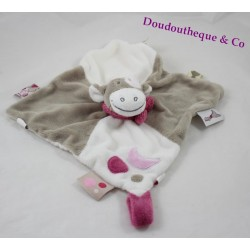 Doudou flat Lola cow NOUKIE'S Victoria and Lucie moon pink gray white 24 cm