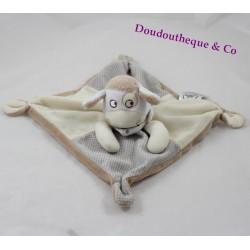 Doudou plat Mouton MOTS D 'ENFANTS LECLERC  beige crème pois 25 cm