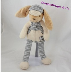 Doudou lapin DOUDOU ET COMPAGNIE casquette carreaux gris 32 cm
