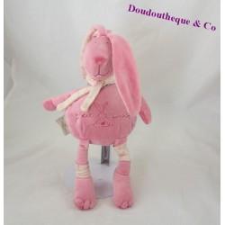 Doudou lapin CMP P'tit lapin rose écharpe 30 cm