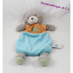 Doudou plat chat TEX BABY Carrefour orange bleu 33 cm