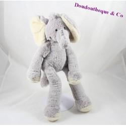 Peluche éléphant NICOTOY gris poils longs oreilles beige 37 cm