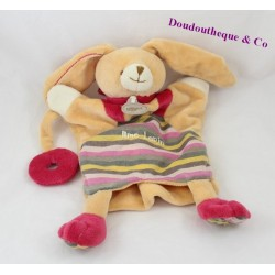 Doudou marionnette lapin BABY NAT' Mme Lapin beige rayures 27 cm