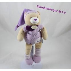 Doudou Sam ours DOUDOU ET COMPAGNIE violet bonnet 25 cm