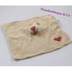 Doudou plat ours BIODOURS beige coeur rouge 100% bio