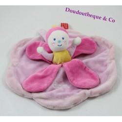 Doudou plat Dam poupée KATHERINE ROUMANOFF rose Dim Dam Doum pétales