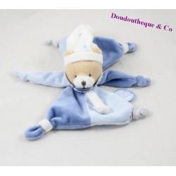 Doudou plat ours DOUDOU ET COMPAGNIE Petit Chou bleu étoiles 20 cm