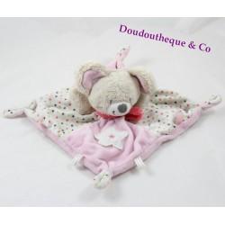 Doudou plat souris MOTS D'ENFANTS rose étoiles 19 cm