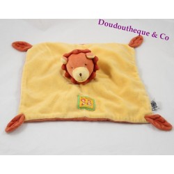 Doudou plat Lion MOULIN ROTY Les Loustics orange jaune 25 cm