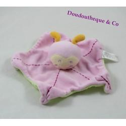 Doudou flat ladybug BABOU pink and green snail 25 cm