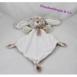 Doudou flat TEX BABY rabbit beige Brown mottled fur 3 knots