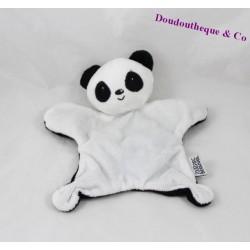 Doudou plat panda ZOOPARC DE BEAUVAL blanc noir 21 cm