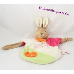 Doudou plat marionnette Lapin Toodo rose beige marron
