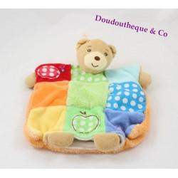 Doudou marionnette ours KALOO Colors pomme patchwork