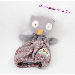 Doudou marionnette Isidore hibou MOULIN ROTY La Grande Famille salopette 24 cm