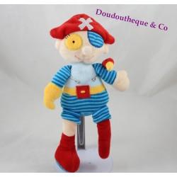 Peluche garçon pirate TEDDYKOMPANIET BASTAD perroquet bleu rouge 28 cm