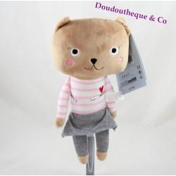 Doudou chat MONOPRIX fille jupe grise t-shirt rayé 28 cm