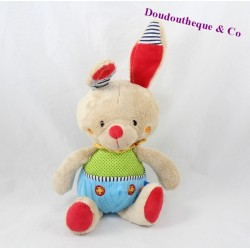 Plush rabbit OUATOO BABY blue green 25 cm