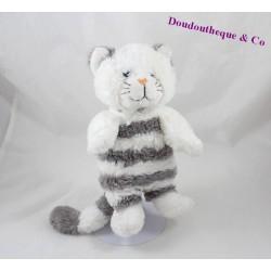 Peluche Chat GIPSY gris et blanc rayè 24 cm