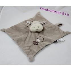 Doudou plat mouton LES CHATOUNETS marron attache tétine 26 cm