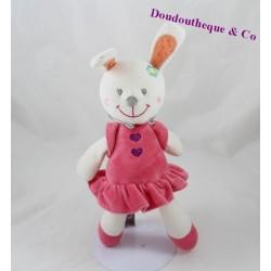 Doudou lapin NICOTOY robe rose fleur brodée 26 cm