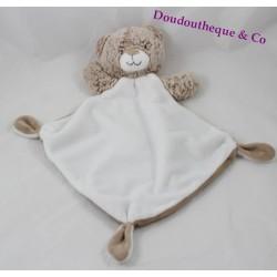 Doudou plat ours TEX losange blanc beige 32 cm
