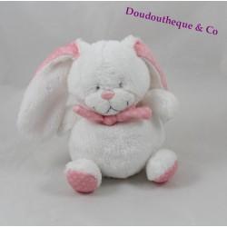 Doudou lapin TEX BABY blanc rose écharpe pois blanc 15 cm