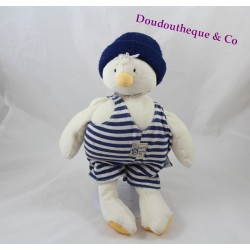 Plush musical MOULIN ROTY overalls striped blue white duck 32 cm Seraphim