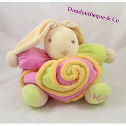 Peluche lapin KALOO Lollies spirale rose vert orange 26 cm