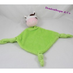 Cow flat Doudou CARREBLANC green nodes white 39 cm square