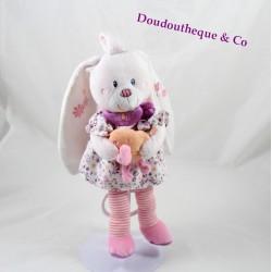 Plush musical rabbit TEX BABY dress flower rose orange bird chick 26 cm