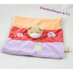Doudou plat chat DOUKIDOU violet rouge orange fleurs Dou Kidou 27 cm
