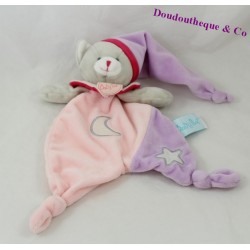 Doudou plat chat BABY NAT Les Luminescents étoile lune rose violet BN0138 25 cm