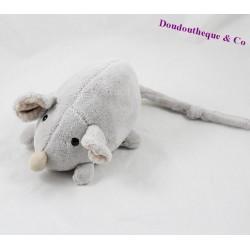 Peluche souris HISTOIRE D'OURS gris beige grelot 20 cm