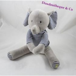 Peluche éléphant OBAIBI t-shirt rayé bleu blanc mains scratch 25 cm
