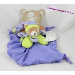 Doudou flat bear BABY NAT green purple Lange 26 cm
