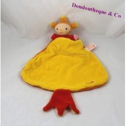 Doudou plat Pati KATHERINE ROUMANOFF jaune et orange
