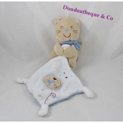 Doudou mouchoir chat POMMETTE bleu beige brodé oiseau 27 cm
