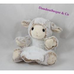 Doudou marionnette mouton RODADOU RODA blanc beige poil long 23 cm