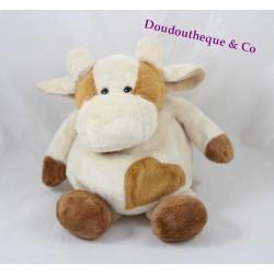 Doudou vache HISTOIRE D'OURS beige marron 25 cm