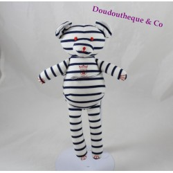 PETIT BATEAU striped bear blanket Blue Navy 25 cm