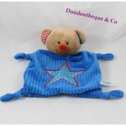 Doudou plat ours LIEF ! bleu étoile bords rouge Lifestyle 27 cm